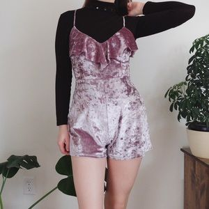 UO Lilac velvet ruffle romper